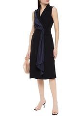 Diane Von Furstenberg Woman Satin-trimmed Draped Crepe Wrap Dress Black