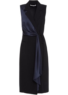 Diane Von Furstenberg Woman Satin-trimmed Draped Crepe Wrap Dress Black