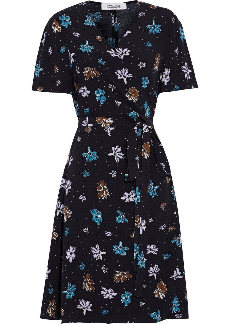 Diane Von Furstenberg Woman Savilla Floral-print Crepe Mini Wrap Dress Black