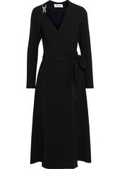 Diane Von Furstenberg Woman Scout Chain-embellished Crepe Midi Wrap Dress Black