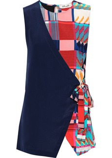 Diane Von Furstenberg Woman Sedona Printed Silk Crepe De Chine Wrap Top Multicolor