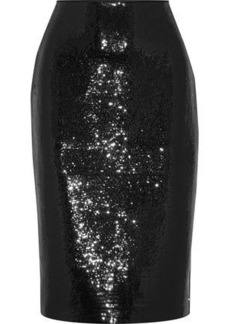 Diane Von Furstenberg Woman Sequined Crepe Pencil Skirt Black