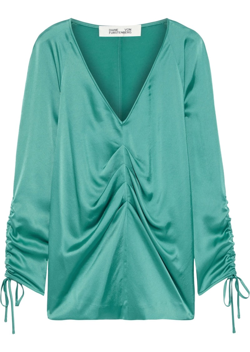 Diane Von Furstenberg Woman Shay Pleated Satin Blouse Turquoise