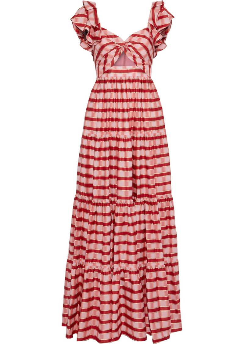 Diane Von Furstenberg Woman Shea Twist-front Cutout Checked Organza Maxi Dress Tomato Red
