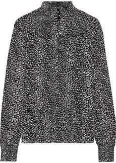 Diane Von Furstenberg Woman Shirred Printed Stretch-mesh Top Black