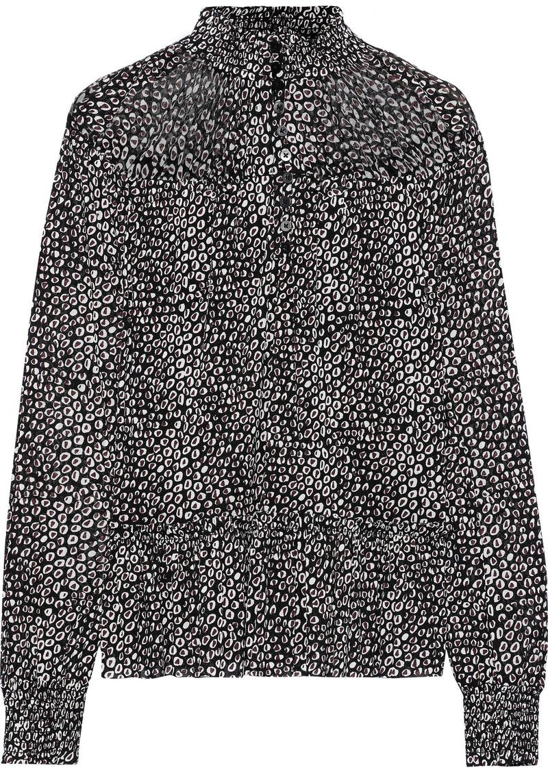 Diane Von Furstenberg Woman Shirred Printed Stretch-mesh Top Black
