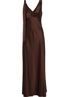 Diane Von Furstenberg Woman Sia Satin Gown Chocolate