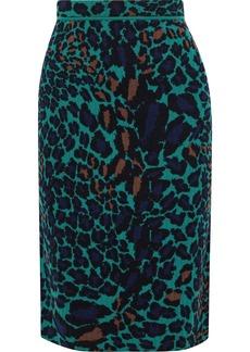 Diane Von Furstenberg Woman Sian Reversible Jacquard-knit Merino Wool Pencil Skirt Emerald