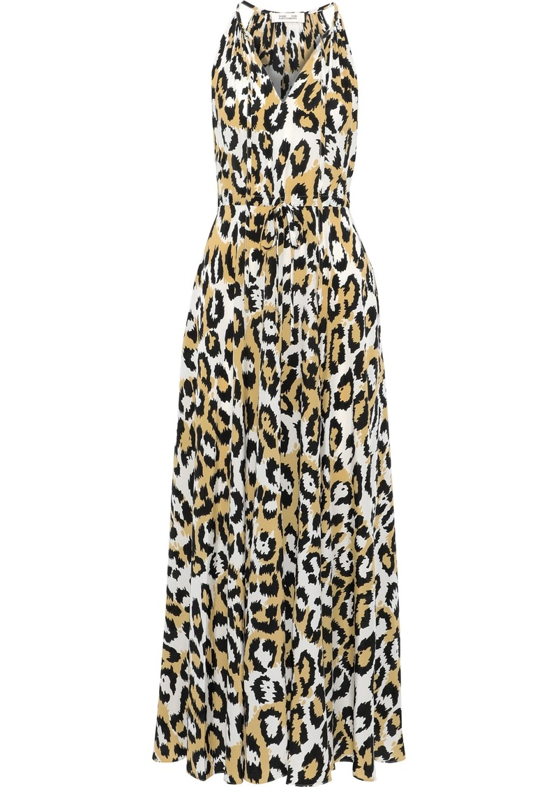 Diane Von Furstenberg Woman Sierra Gathered Printed Silk-crepe Maxi Dress White