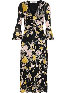 Diane Von Furstenberg Woman Silas Ruched Floral-print Stretch-mesh Midi Dress Black