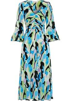 Diane Von Furstenberg Woman Silas Ruched Printed Stretch-mesh Midi Dress Azure