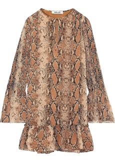 Diane Von Furstenberg Woman Skye Shirred Snake-print Silk-georgette Mini Dress Light Brown