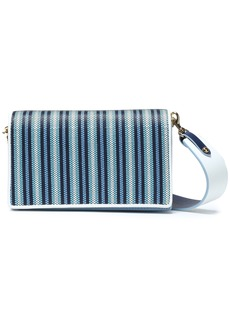 Diane Von Furstenberg Woman Soirée Striped Faux Raffia-paneled Leather Shoulder Bag Light Blue