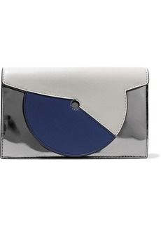 Diane Von Furstenberg Woman Soiree Color-block Matte And Mirrored-leather Shoulder Bag Silver