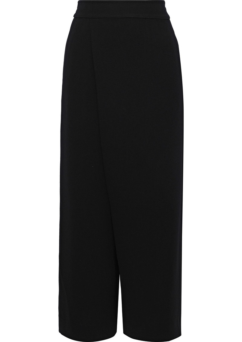 Diane Von Furstenberg Woman Soleil Cropped Layered Crepe Wide-leg Pants Black