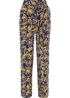 Diane Von Furstenberg Woman Sonia Belted Printed Silk Crepe De Chine Wide-leg Pants Navy