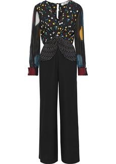 Diane Von Furstenberg Woman Sophie Tie-front Polka-dot Silk-chiffon And Crepe Jumpsuit Black