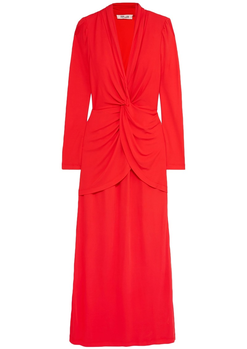 Diane Von Furstenberg Woman Stacia Twist-front Crepe Maxi Dress Red