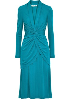 Diane Von Furstenberg Woman Stacia Twist-front Layered Jersey Dress Teal