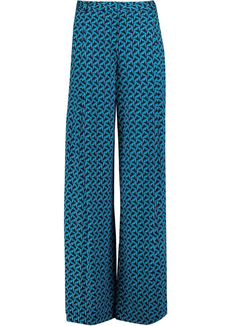 Diane Von Furstenberg Woman Stanton Printed Silk-jersey Wide-leg Pants Teal