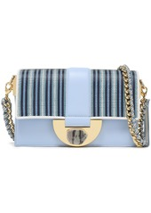 Diane Von Furstenberg Woman Stone Lock Bonne Journée Striped Faux Raffia-paneled Leather Shoulder Bag Light Blue