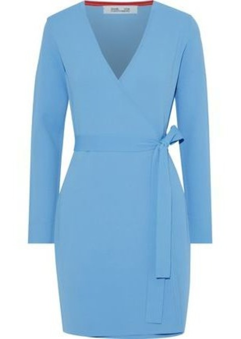 Diane Von Furstenberg Woman Stretch-knit Mini Wrap Dress Light Blue