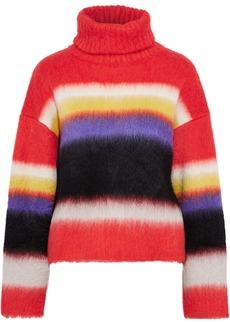 Diane Von Furstenberg Woman Striped Brushed Knitted Turtleneck Sweater Coral