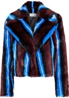 Diane Von Furstenberg Woman Striped Faux Fur Coat Multicolor