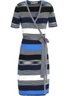 Diane Von Furstenberg Woman Striped Ribbed-knit Wrap Dress Multicolor