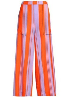 Diane Von Furstenberg Woman Striped Silk-blend Wide-leg Pants Bright Orange