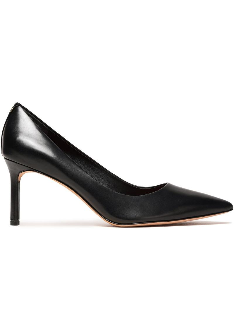 Diane Von Furstenberg Woman Suede-trimmed Glossed-leather Pumps Black