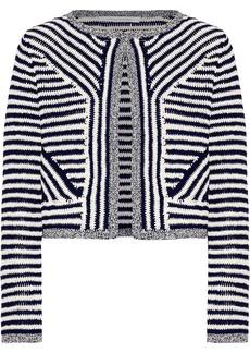 Diane Von Furstenberg Woman Sydell Cropped Striped Cotton Jacket Midnight Blue