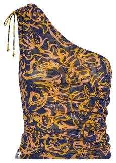 Diane Von Furstenberg Woman Sylvie Reversible One-shoulder Printed Stretch-mesh Top Navy