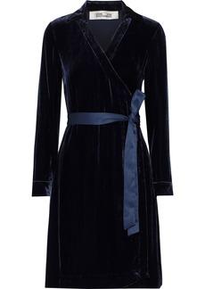 Diane Von Furstenberg Woman Tanya Satin-trimmed Velvet Mini Wrap Dress Navy