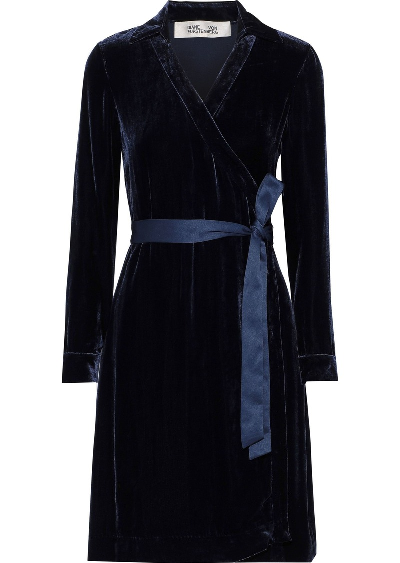 Diane Von Furstenberg Woman Tanya Satin-trimmed Velvet Mini Wrap Dress Navy