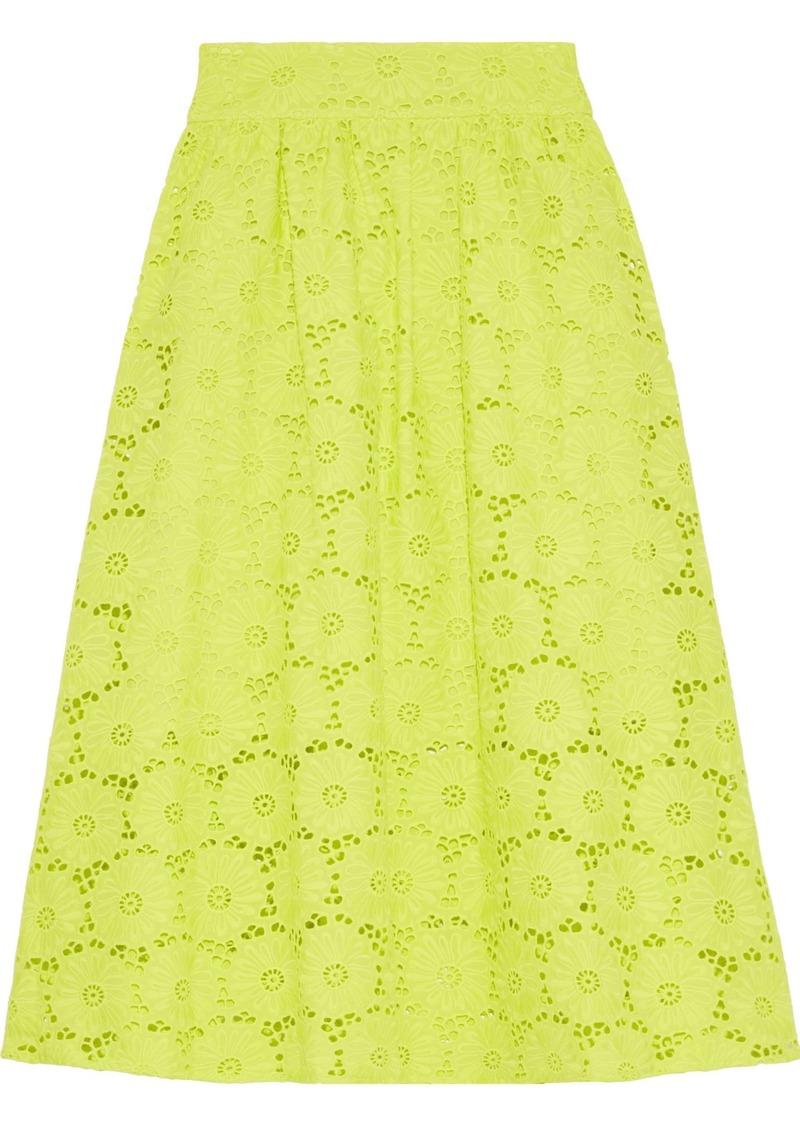 Diane Von Furstenberg Woman Tara Neon Broderie Anglaise Cotton Skirt Lime Green
