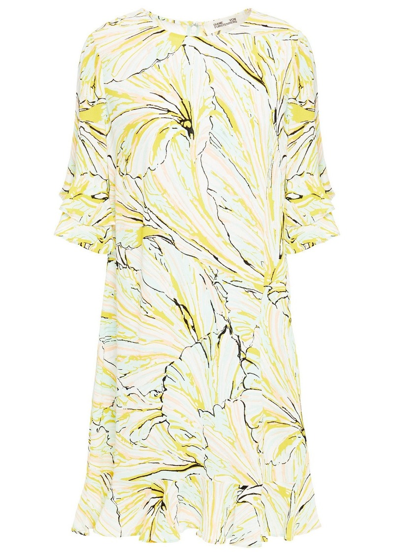 Diane Von Furstenberg Woman Tatum Ruffle-trimmed Printed Crepe Mini Dress Ivory