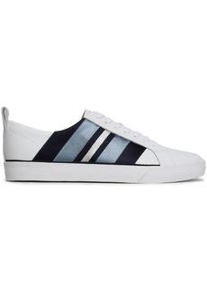 Diane Von Furstenberg Woman Tess Striped Satin-trimmed Leather Sneakers White