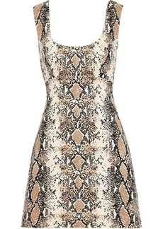 Diane Von Furstenberg Woman Tessa Cutout Snake-print Stretch-cotton Mini Dress Animal Print