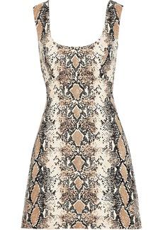 Diane Von Furstenberg Woman Tessa Cutout Snake-print Stretch-cotton Mini Dress Animal Print