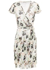 Diane Von Furstenberg Woman Theo Tiered Floral-print Plissé-chiffon Mini Wrap Dress Ivory