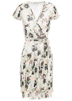 Diane Von Furstenberg Woman Theo Tiered Floral-print Plissé-chiffon Mini Wrap Dress Ivory