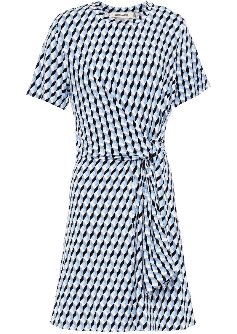 Diane Von Furstenberg Woman Theresa Tie-front Printed Stretch-jersey Mini Dress Light Blue