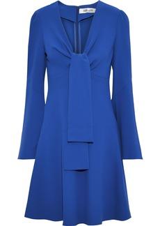 Diane Von Furstenberg Woman Tie-front Crepe Mini Dress Indigo