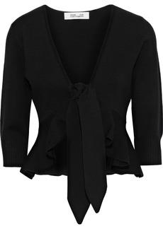 Diane Von Furstenberg Woman Tie-front Ruffled Wool-blend Cardigan Black