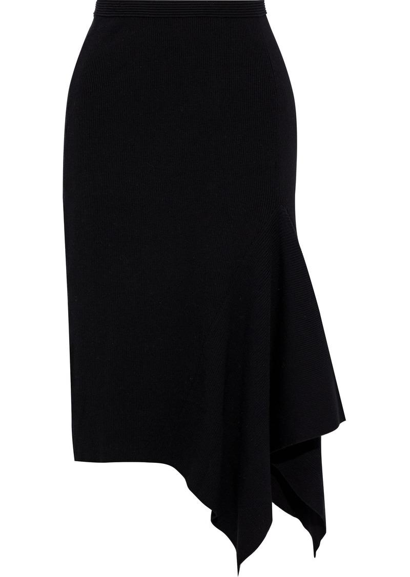 Diane Von Furstenberg Woman Tierney Asymmetric Merino Wool-blend Skirt Black
