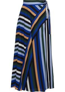 Diane Von Furstenberg Woman Tilda Striped Crepe De Chine Midi Wrap Skirt Multicolor