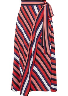 Diane Von Furstenberg Woman Tilda Striped Crepe Midi Wrap Skirt Red