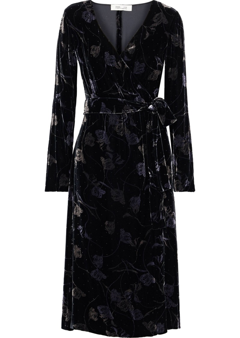 Diane Von Furstenberg Woman Tilla Floral-print Velvet Wrap Dress Black