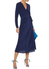Diane Von Furstenberg Woman Tilly Crinkled-tencel Midi Wrap Dress Navy